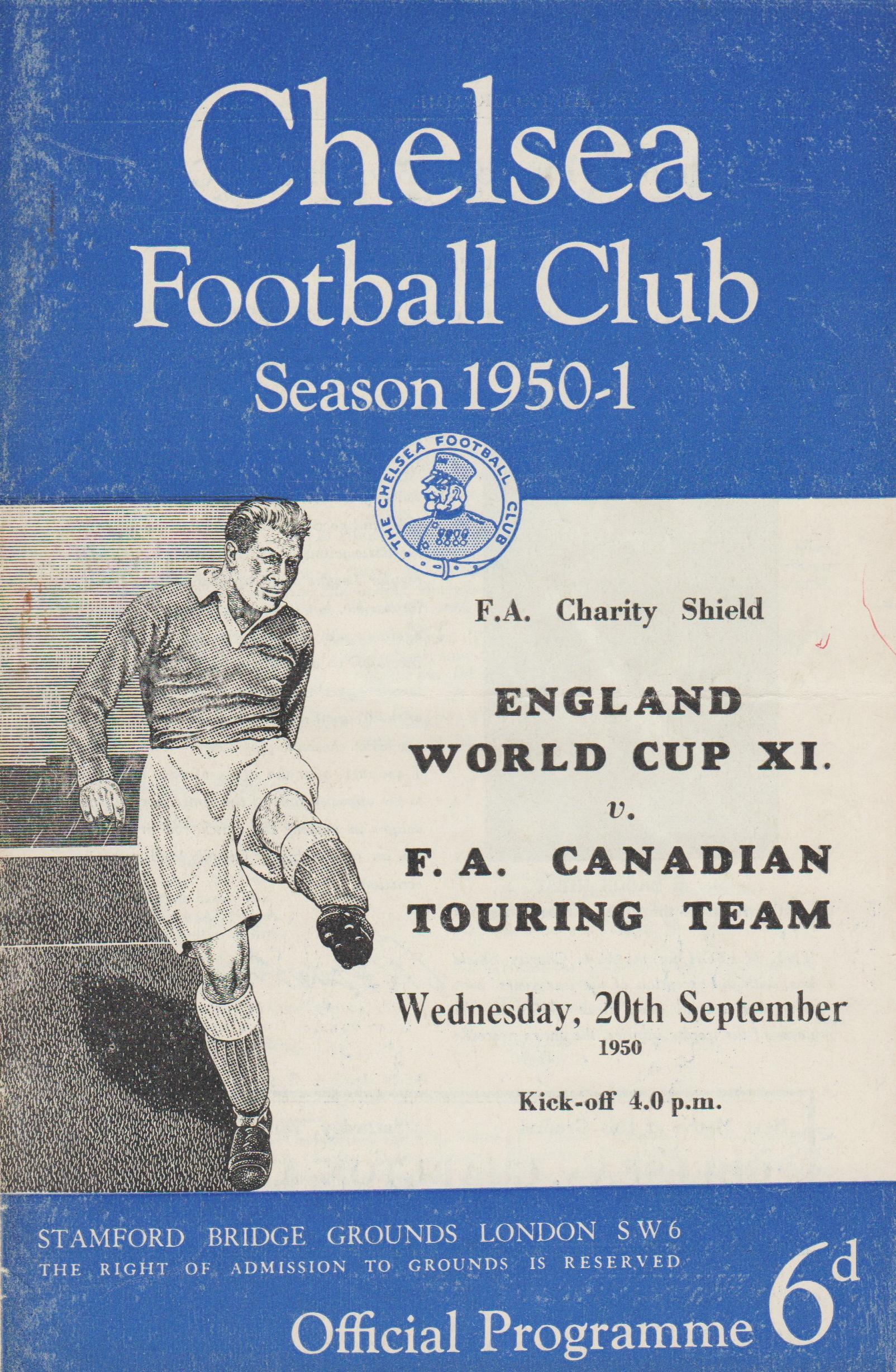 1950 CHARITY SHIELD - ENGLAND WORLD CUP XI v FA TOUR XI