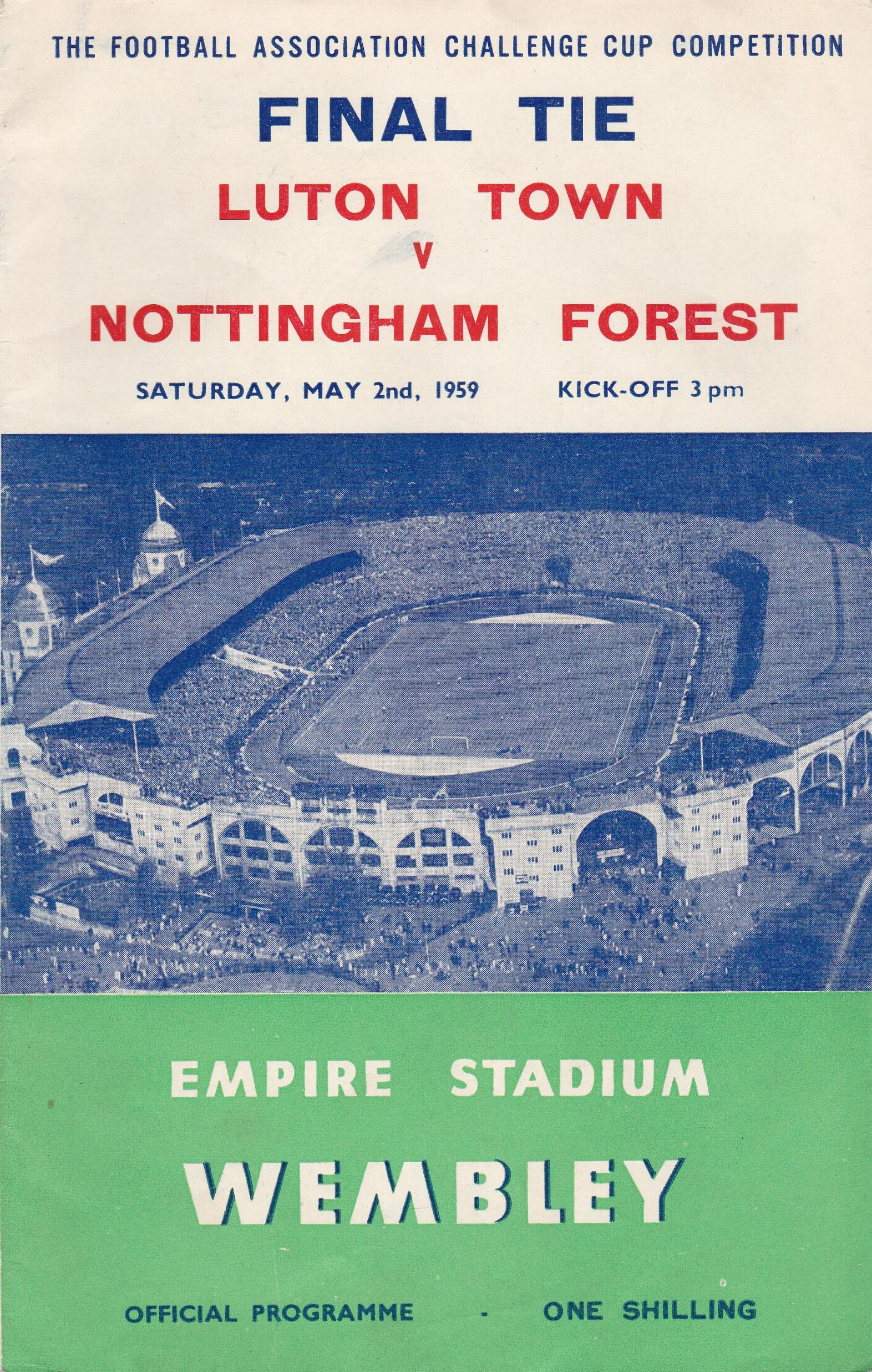 1959 FA CUP FINAL - LUTON TOWN v NOTTINGHAM FOREST