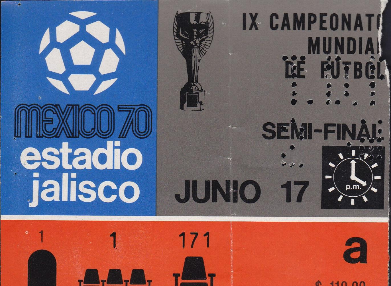 1970 WORLD CUP SEMI-FINAL TICKET - BRAZIL v URUGUAY