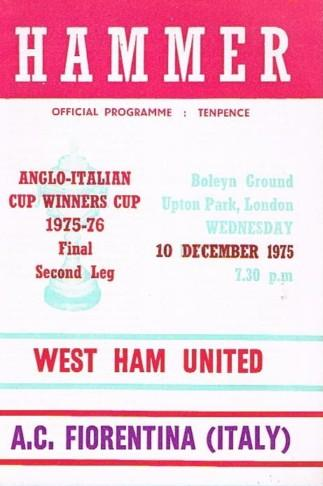 1975 ANGLO-ITALIAN CUP FINAL - WEST HAM v FIORENTINA