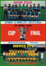 1975 LEAGUE CUP FINAL - NORWICH CITY v ASTON VILLA