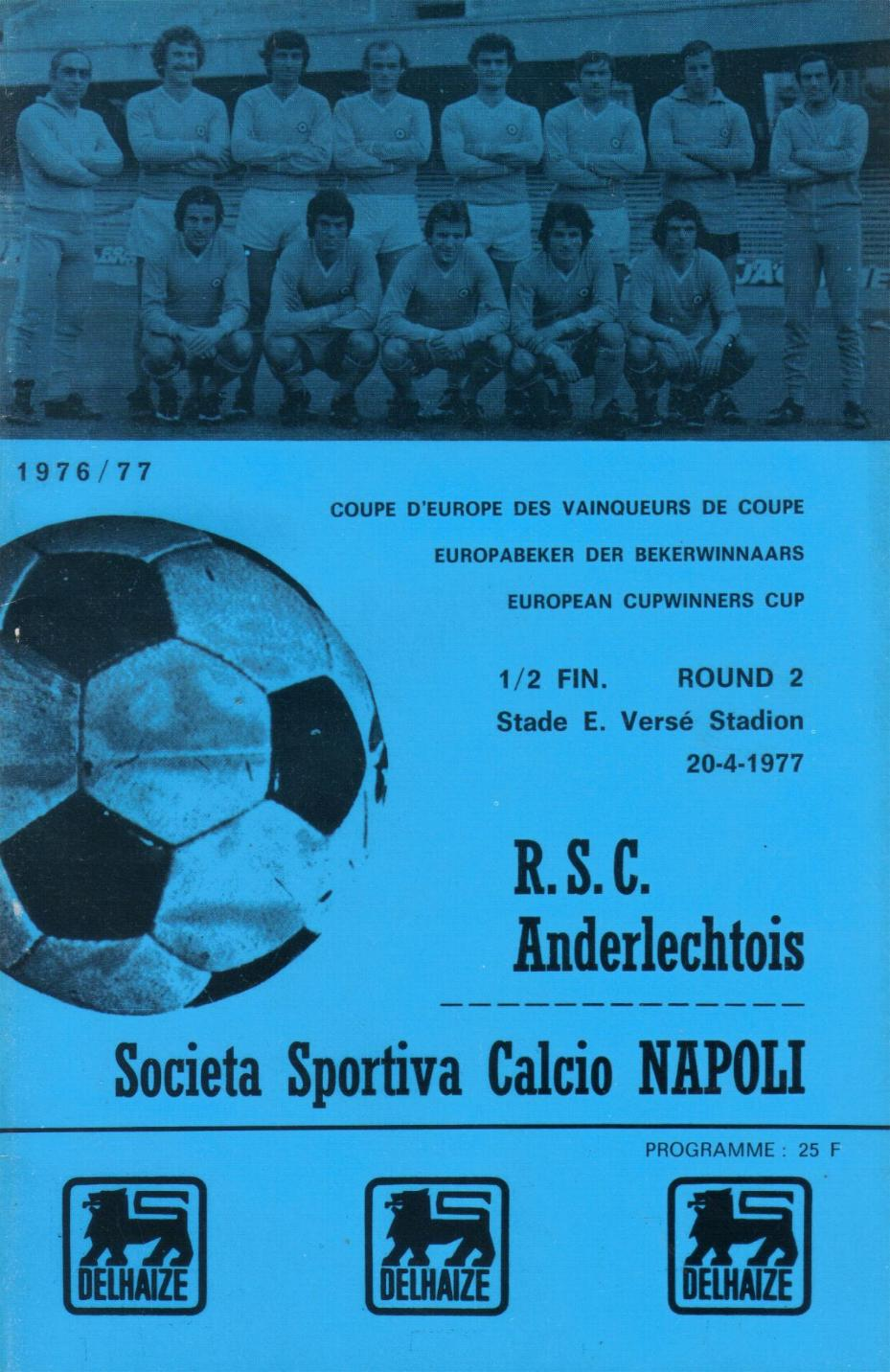 1977 CUP WINNERS CUP SEMI-FINAL - ANDERLECHT v NAPOLI