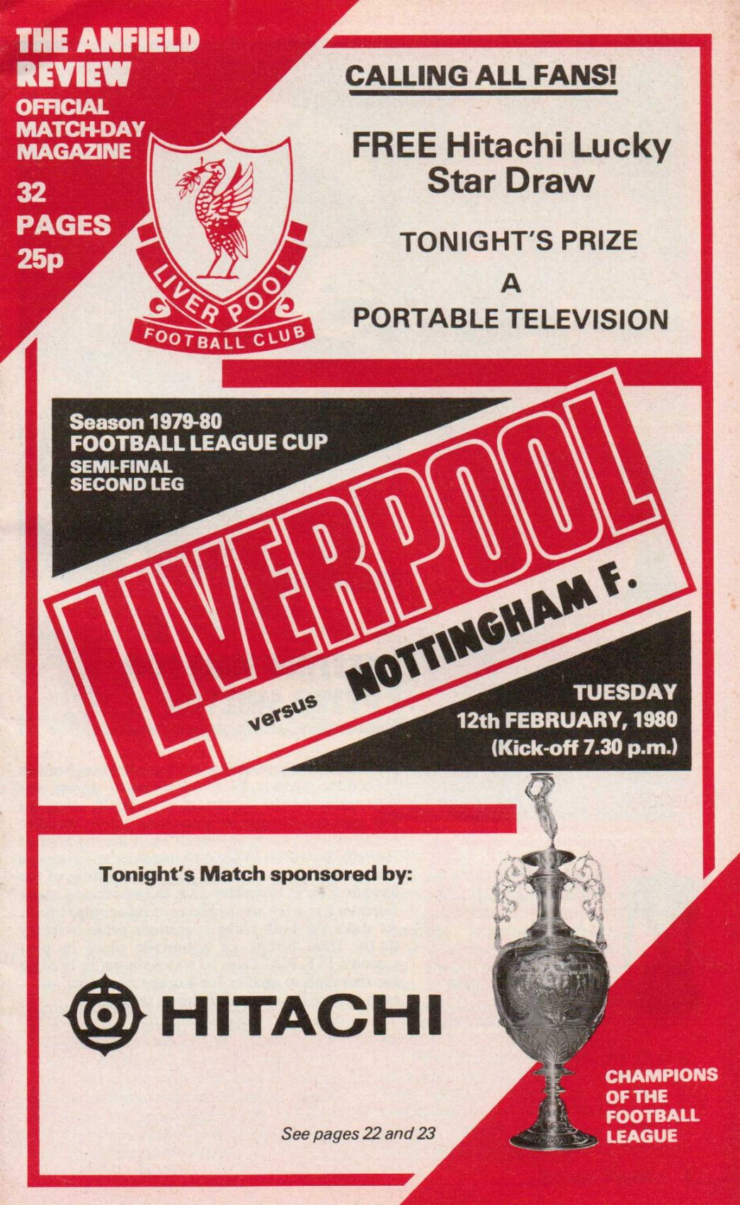 1980 LEAGUE CUP SEMI-FINAL - LIVERPOOL v NOTTINGHAM FOREST