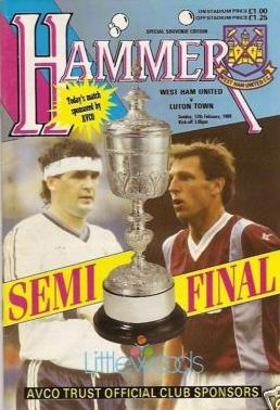 1989 LEAGUE CUP SEMI-FINAL - WEST HAM v LUTON TOWN