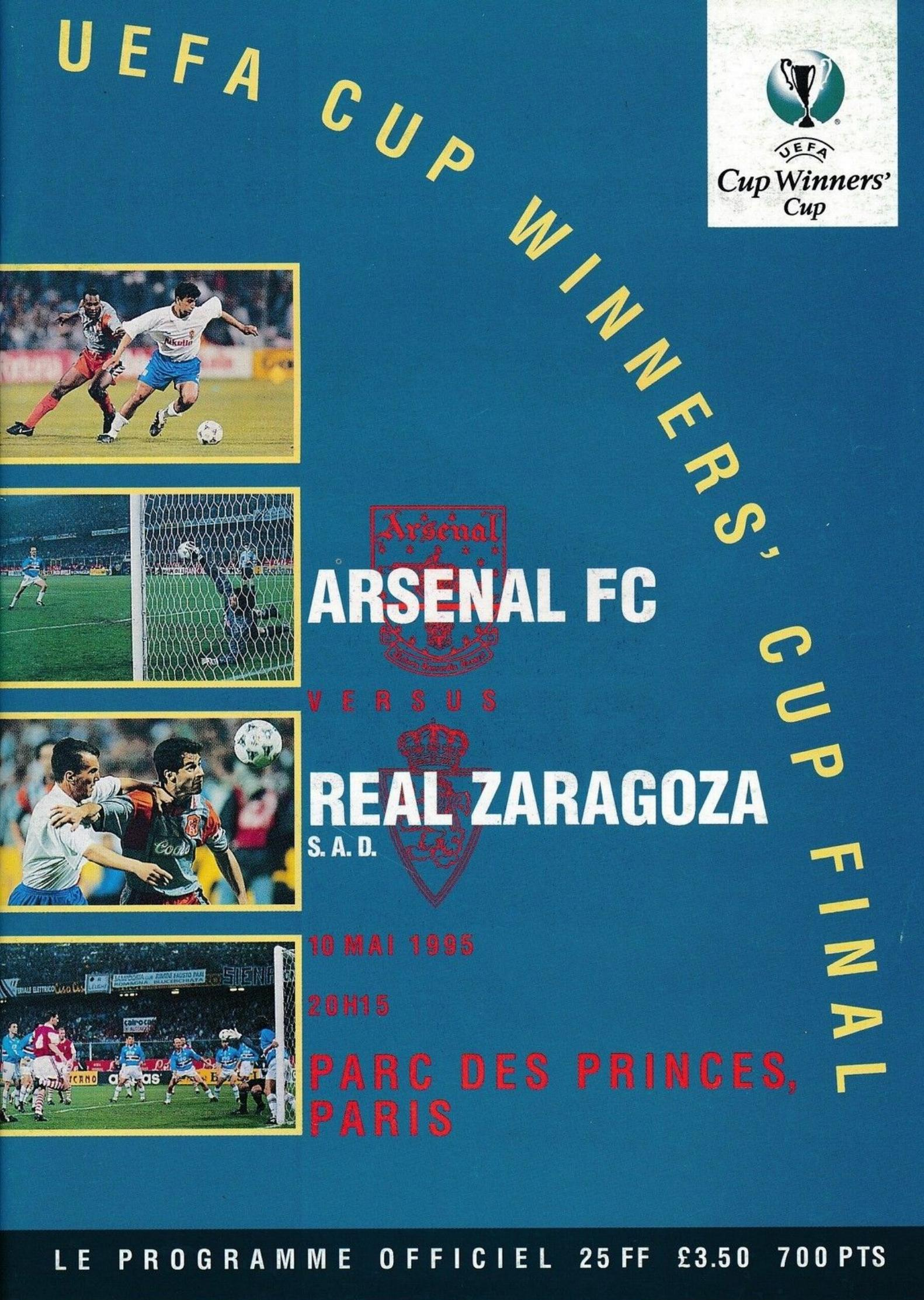 1995 CUP WINNERS CUP FINAL - ARSENAL v REAL ZARAGOZA