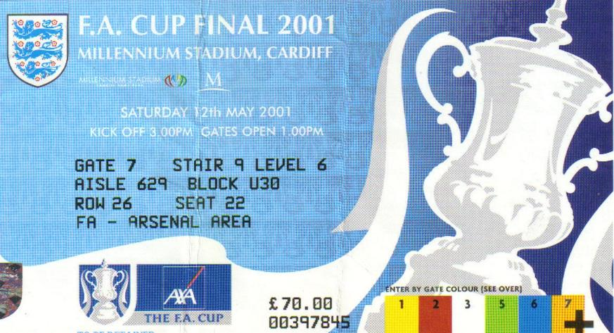 2001 FA CUP FINAL TICKET - LIVERPOOL v ARSENAL