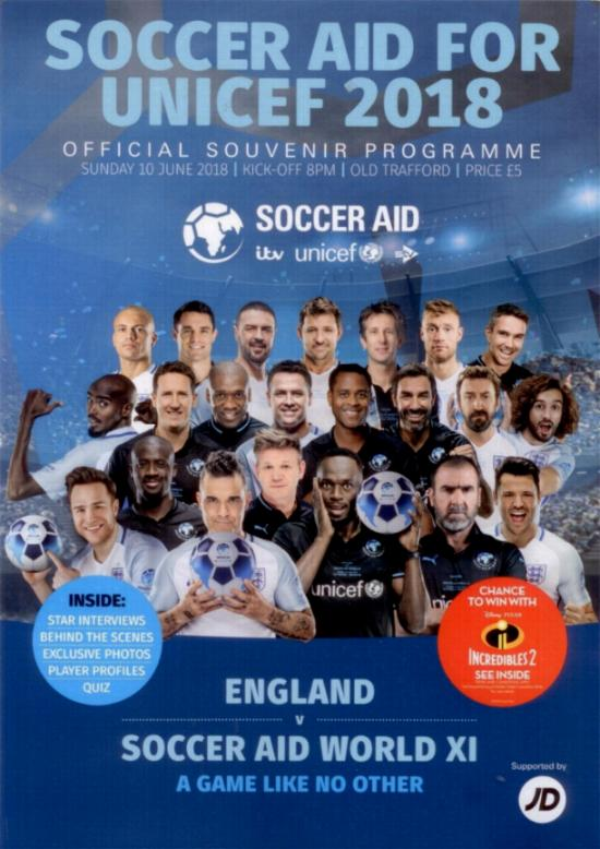 2018 - SOCCER AID - ENGLAND v REST OF THE WORLD