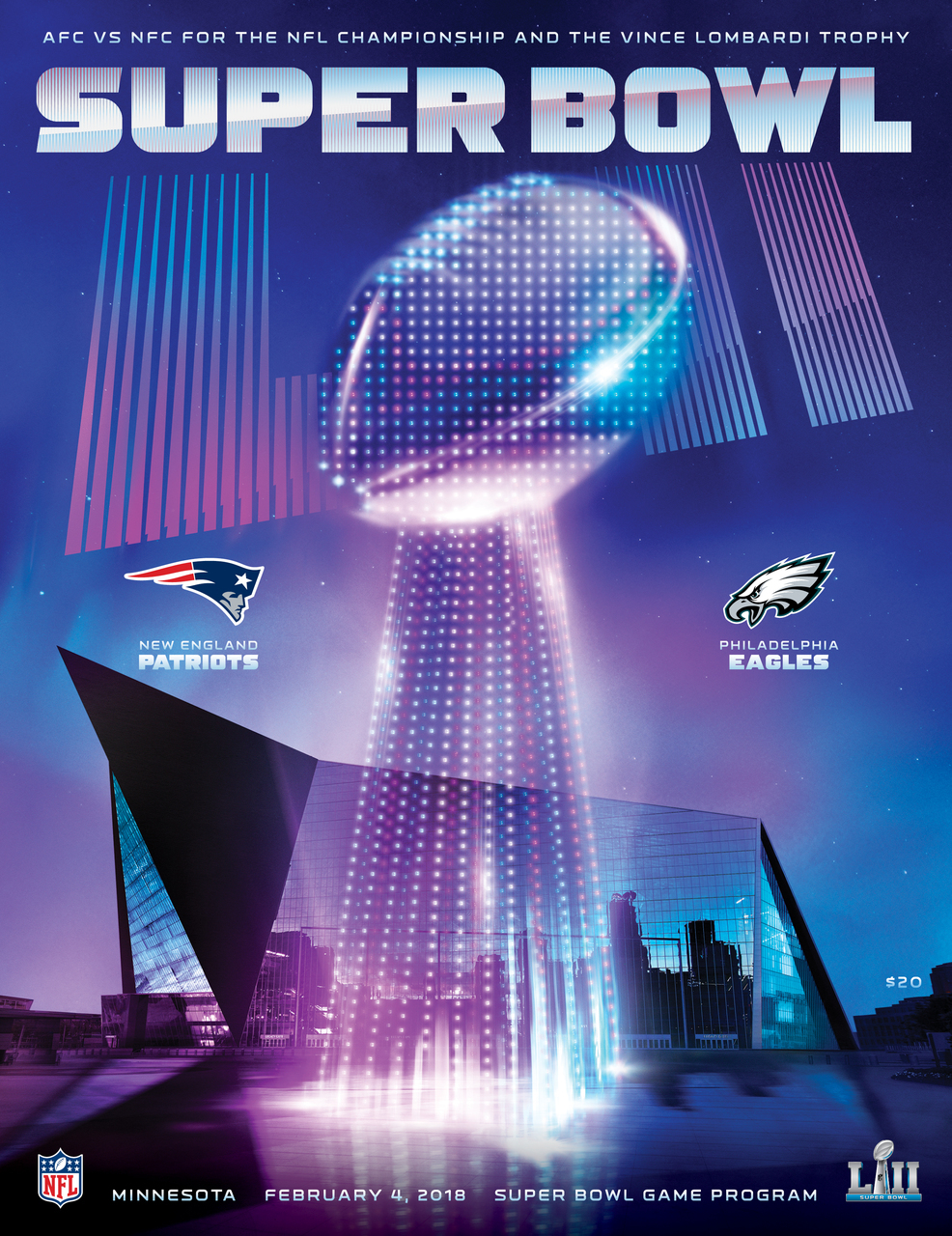 2018 SUPER BOWL PROGRAMME - PATRIOTS v EAGLES (POST FREE)