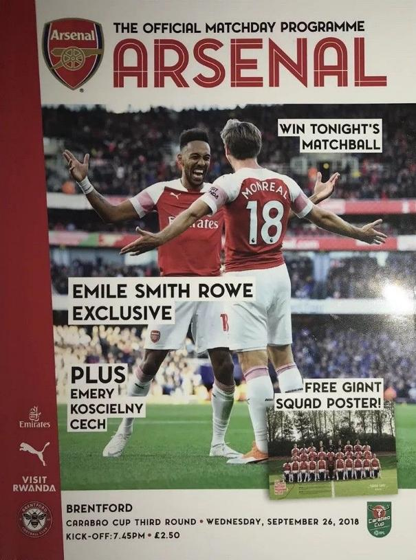 ARSENAL v BRENTFORD 2018/19 (LEAGUE CUP)