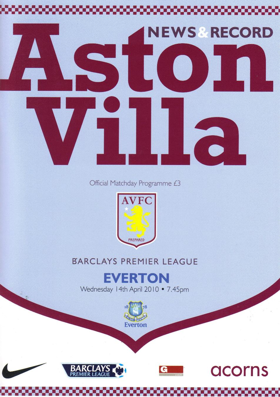 ASTON VILLA v EVERTON 2009/10