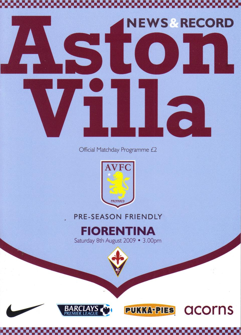 ASTON VILLA v FIORENTINA 2009/10 (FRIENDLY)