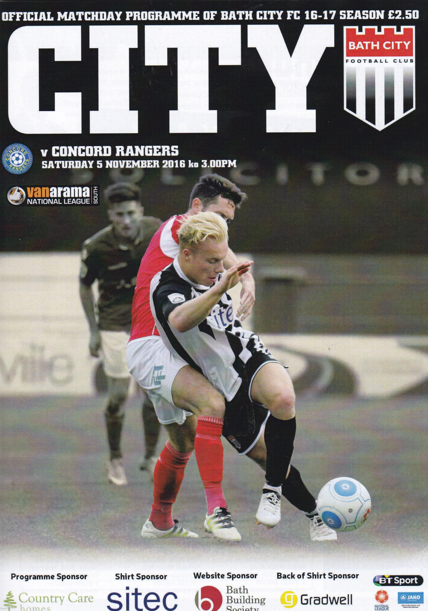 BATH CITY v CONCORD RANGERS 2016/17
