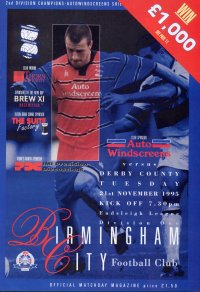 BIRMINGHAM CITY v DERBY COUNTY 1995/96