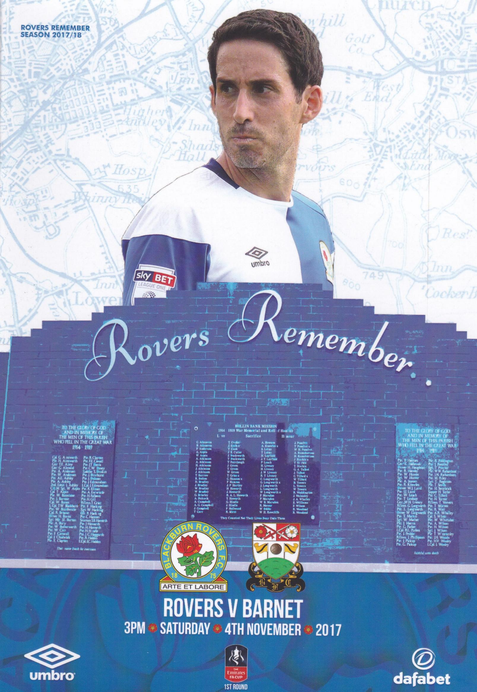 BLACKBURN ROVERS v BARNET (FA CUP) 2017/18