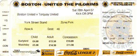 2006/07 - BOSTON UTD v TORQUAY (TICKET) LAST IN LEAGUE