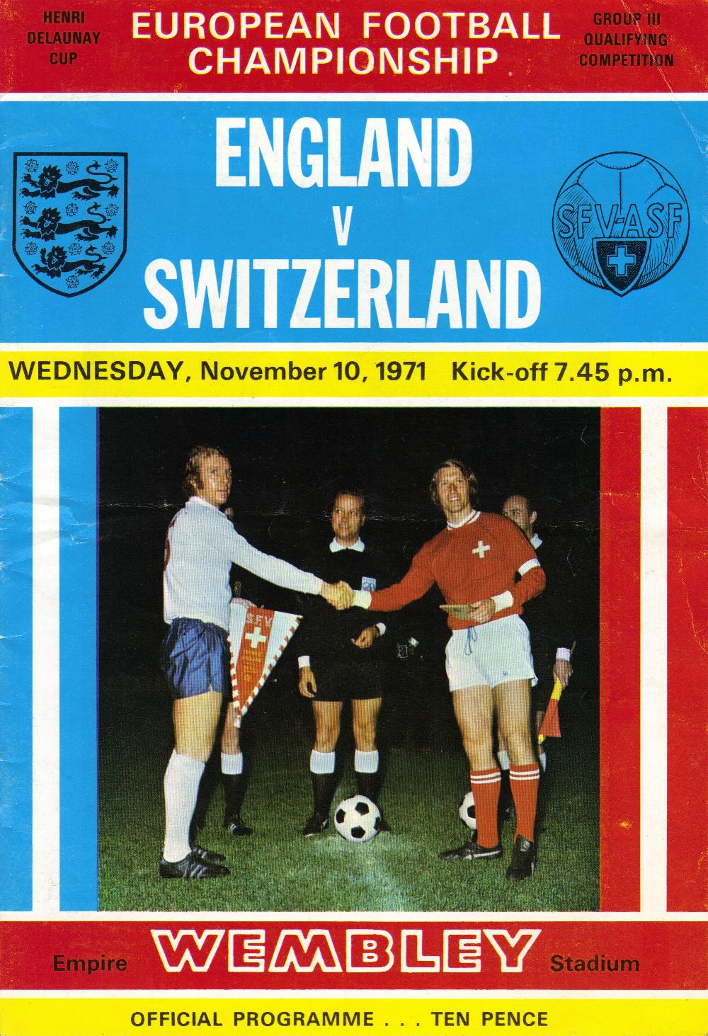 1971 - ENGLAND v SWITZERLAND