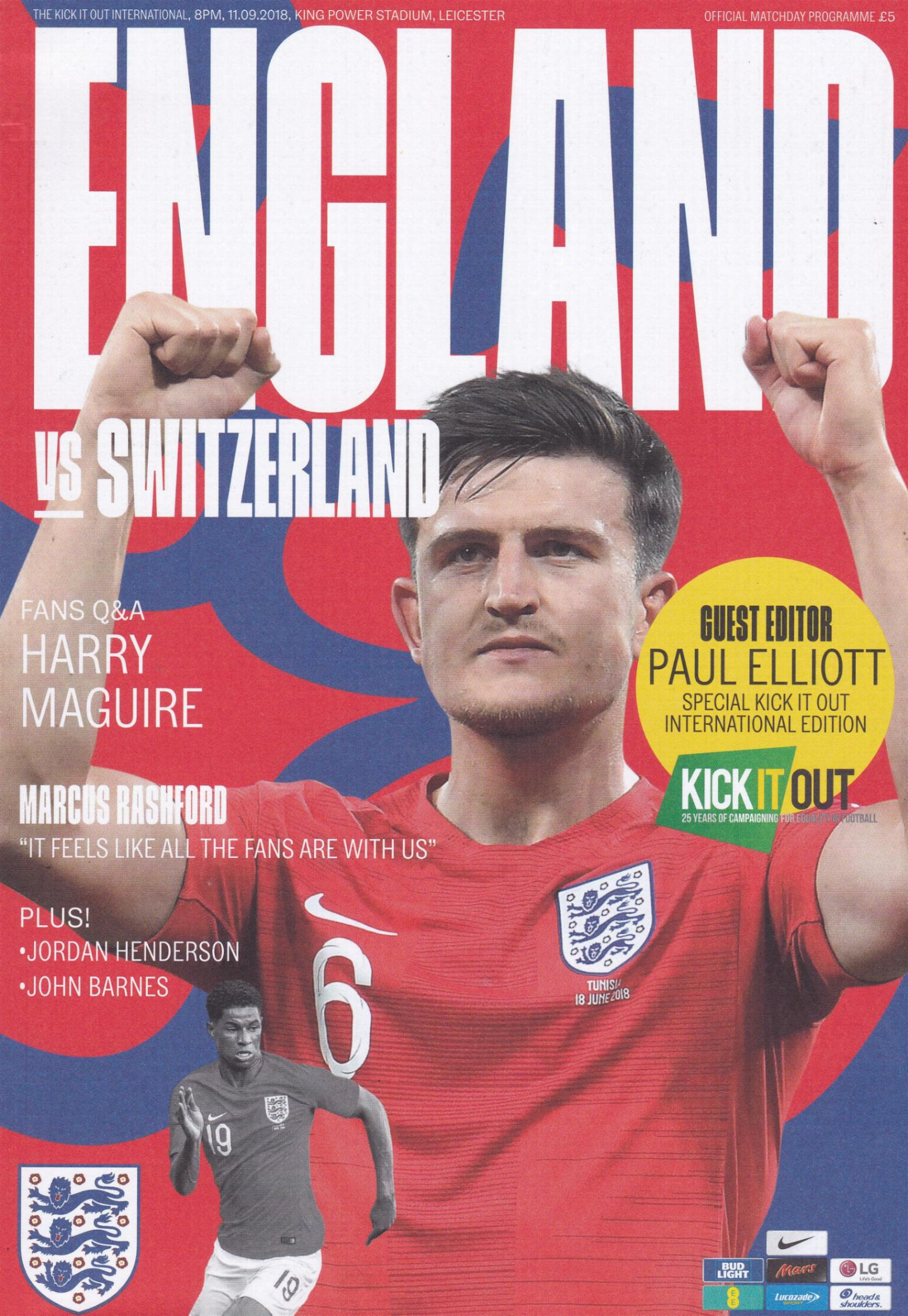 2018 - ENGLAND v SWITZERLAND