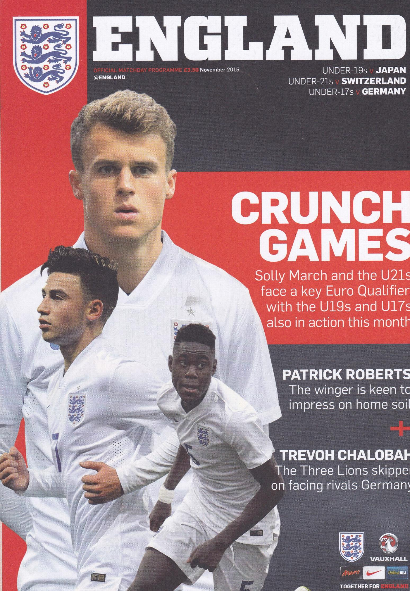 2015 - ENGLAND v SWITZERLAND UNDER 21'S