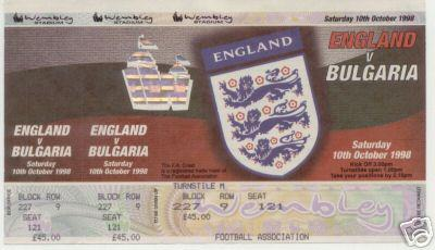 1998 - ENGLAND v BULGARIA - UNUSED TICKET