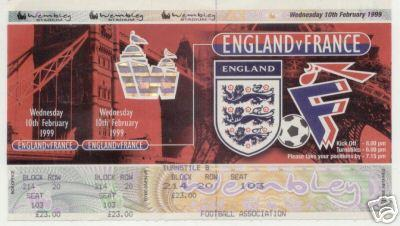1999 - ENGLAND v FRANCE - UNUSED TICKET