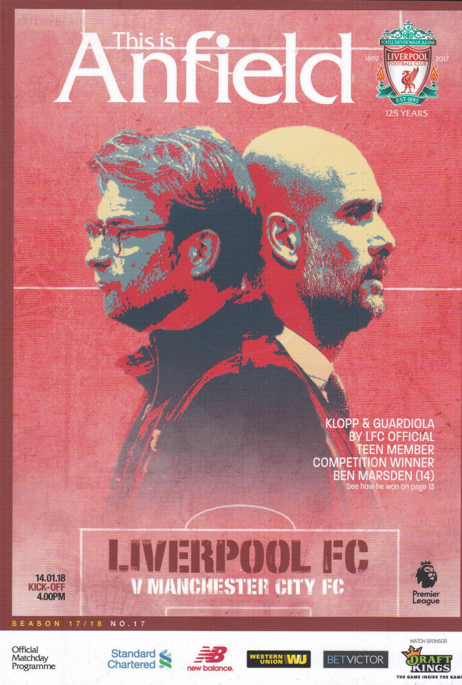 LIVERPOOL v MAN CITY 2017/18