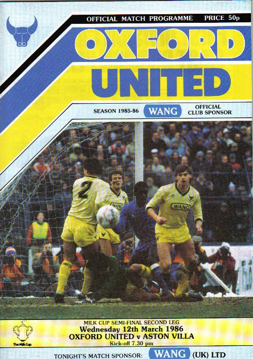 1986 LEAGUE CUP SEMI-FINAL - OXFORD UTD v ASTON VILLA