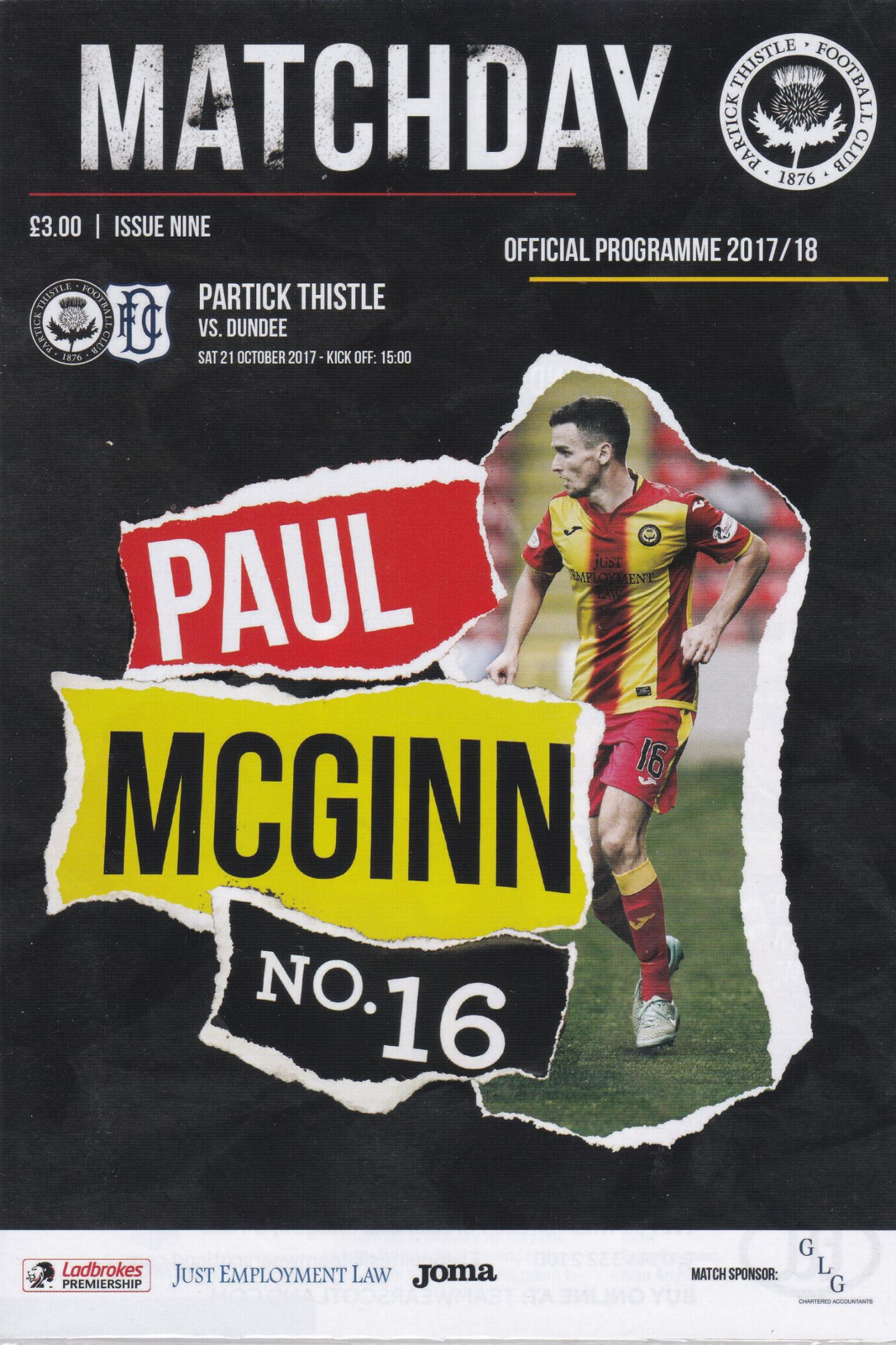 PARTICK THISTLE v DUNDEE 2017/18 (21st October 2017)