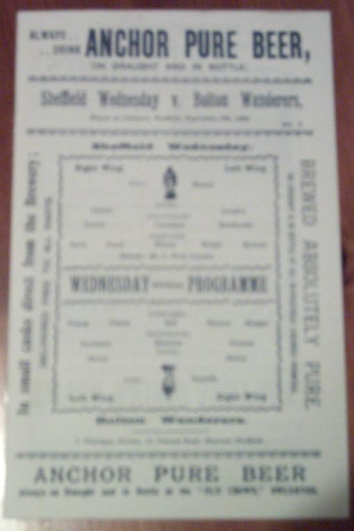 1900 - SHEFF WED v BOLTON (REPRINT)