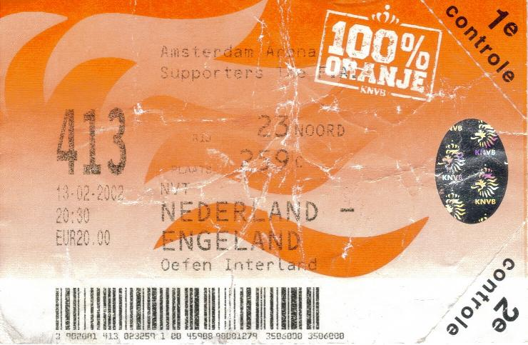 2002 - HOLLAND v ENGLAND TICKET