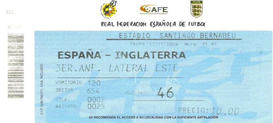 2004 - SPAIN v ENGLAND TICKET