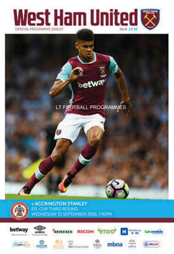 WEST HAM V ACCRINGTON STANLEY 2016/17 (LEAGUE CUP)