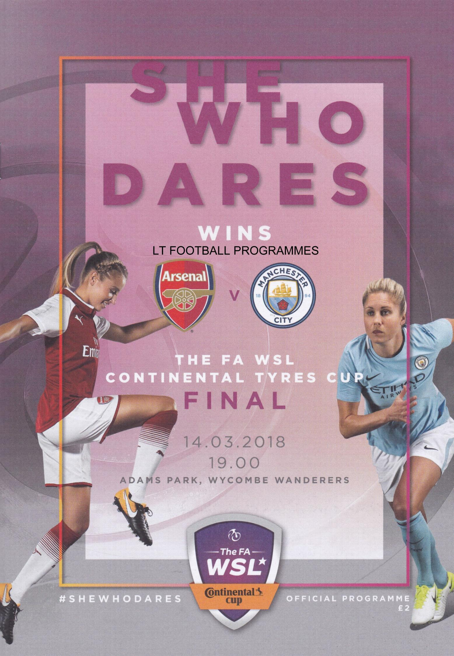 2018 WOMENS CONTINENTAL CUP FINAL - ARSENAL v MAN CITY
